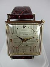 1957 Hamilton Victor Electric Wristwatch White Dial with Diamond Pattern 500a Movement