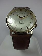 1967 Hamilton Electric Armstrong Flooring Award Watch 14kt Solid Gold Case Leather Band Gold Buckle