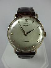 1954 Hamilton Bradford Wristwatch 14kt Gold with Hamilton Alligator Band 14k Gold Buckle
