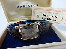 1954 Hamilton Wilson Wristwatch 22j Grade 770 with Leather Band Gold Filled Buckle and Flared Case