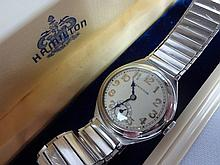 1931 Hamilton Palisade Wristwatch 17j 6/0 sized 987f Movement NOS Mesh Link Band White Gold Filled