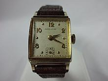 1949 Hamilton Bailey Wristwatch 19j 982 Grade Movement Yellow Gold Filled
