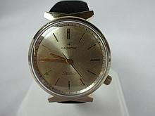 1961 Hamilton Aquatel 505 Electric Movement Wristwatch Leather and Felt Band Yellow Gold Filled