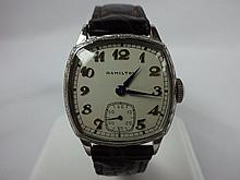1927 Hamilton Cushion White Gold Filled Wristwatch 987 Grade Movement 17j Stainless Steel Buckle