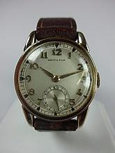1936 Hamilton Endicott Wristwatch 17j 980 Caliber Movement Yellow Gold Filled