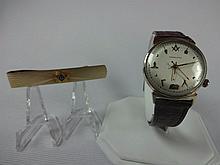 1962 Hamilton Nautilus Electric Rare Masonic Dial 505 Grade Movement 10k Gold Filled, Neck Tie Bar