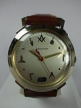 1957 Hamilton Titan Electric Wristwatch Rare Masonic Dial 500 Grade Movement