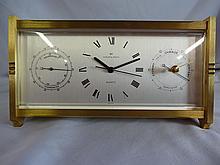 Hamilton Weathercaster Q Swiss Quartz Brass Thermometer and Barometer Clock