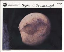 1970s CLYDE TOMBAUGH SIGNED NASA LITHO & COVERS
