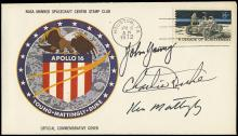 1972 APOLLO 16 CREW SIGNED INSURANCE COVER