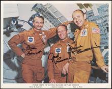 SKYLAB 3 1973 CREW SIGNED NASA COLOR LITHO