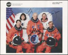 1996 STS-80 CREW SIGNED NASA COLOR LITHO