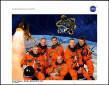 STS-134 2011 CREW SIGNED NASA COLOR LITHO