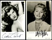 1950s-ERA SIGNED ACTRESS PICTURE POSTCARDS (x12), JANET LEIGH, SOPHIA LOREN, OTHERS