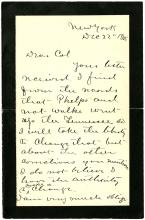 1885-88 FREDERICK GRANT (ULYSSES SON) LETTER ARCHIVE; FATHER'S FINAL ILLNESS