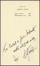 1952/1964 AUTOGRAPHED JACOB K JAVITS BOOK & ADLAI STEVENSON LETTERS