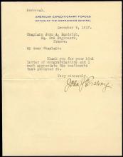 USA 1917 JOHN J. PERSHING SIGNED LETTER TLS