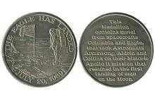 APOLLO 11 c.1970 MEDALLIONS MADE FROM SPACE CRAFT METAL (x2)