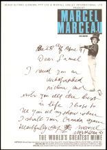 1991 MARCEL MARCEAU AUTOGRAPHED PHOTO & ALS