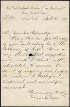 1889 CHAUNCEY DEPEW, SIGNED HANDWRITTEN LETTER