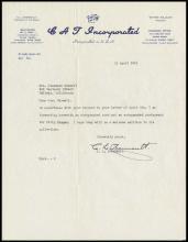 1951 C. L. CHENNAULT SIGNED LETTER