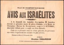 1940 FRENCH TOWN ANNOUNCEMENT FOR JEWISH REGISTRATION