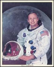 1969 APOLLO 11 NEIL ARMSTRONG SIGNED WHITE SPACE SUIT LITHO