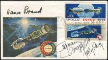 1975 APOLLO/SOYUZ FDC SIGNED BY 4 CREW MEMBERS