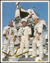 1969 APOLLO ASTRONAUTS SIGNED LITHOS & SOUVENIR CARDS (x10)
