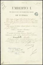 1887 ROYAL DECREE SIGNED BY KING UMBERTO I