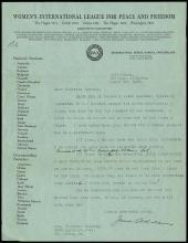 1921-34 JANE ADDAMS SIGNED LETTERS W/ TELEGRAM (x5)