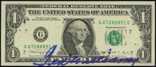 1980s TED WILLIAMS AUTOGRAPHED ONE DOLLAR BILL