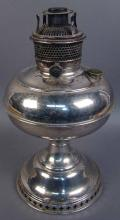 Vintage Bradley and Hubbard Oil Lamp with Silver Finish
