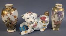 Pair of Decorated Porcelain Japanese Vases and Made in Japan Imperial Puppy Figurine