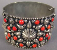 Sterling and Red Coral Decorated Cuff Bracelet