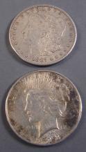 Pair of Morgan & Peace Silver Dollars. 1887 & 1923