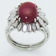 Estate 18k  Over 5.00 CT Cabochon Ruby & VS Clarity Diamond Ring