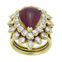 18k Yellow Gold Cabochon Ruby & Round Brilliant Diamond Ring
