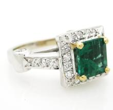Astonishing 18K white Gold with 1.75 ct Green Emerald & Diamonds Cocktail Ring, Size 5.25