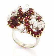 Vintage 18K White Gold Cocktail Ring with Diamonds and Rubies.