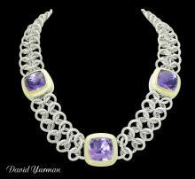 1980s David Yurman 18k Yellow Gold Silver & Amethyst Necklace