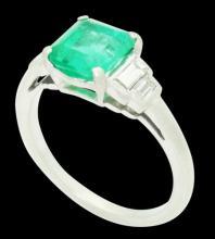 Antique Platinum Apx. 2.20 Carats TCW Emerald & VS G Baguette Diamond Ring