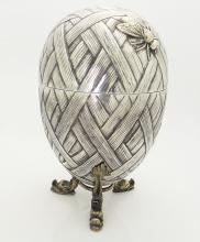 LARGE ANTIQUE RUSSIAN SILVER EGG WITH BEETLE
