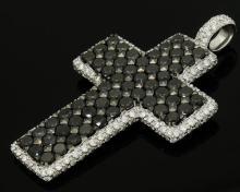 De Grisogono 18k White Gold Black & White Diamond Cross Pendant Necklace
