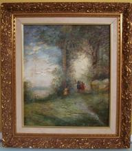 19 c. Oil Painting on canvas signed.