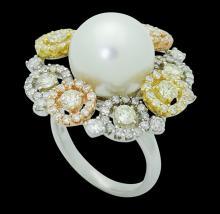 18k Multi Tone Gold 2.00 TCW VS-SI Diamond & 12mm Pearl Ring