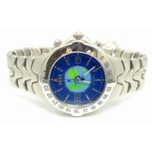 EBEL STAINLESS STEEL BLUE DIAL SPORTWAVE WORLD TIME WATCH