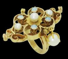 Estate Victorian 14k Yellow Gold Pearl & Opal Ring
