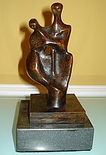HENRY MOORE ENGLISH BRONZE SCULPTURE OF WOMAN & CHILD