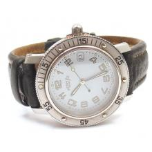 HERMES STAINLESS CLIPPER DIVER MENS LEATHER WATCH